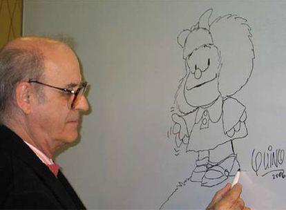 El caricaturista Quino y su creación más popular, Mafalda