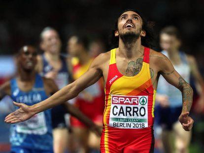Fernando Carro, tras cruzar la meta.