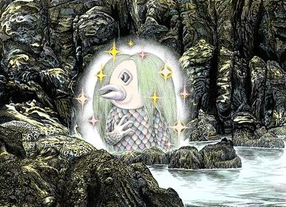 Amabie en la ilustración de Shigeru Mizuki.