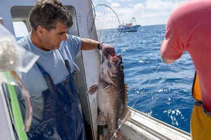 Manuel Ligero, patrón del barco de pesca 'El Millonario', sacando parte de la captura obtenida en aguas de Marruecos.