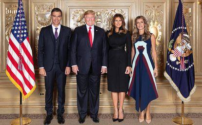 Pedro Sánchez, Donald y Melania Trump y Begoña Gómez.