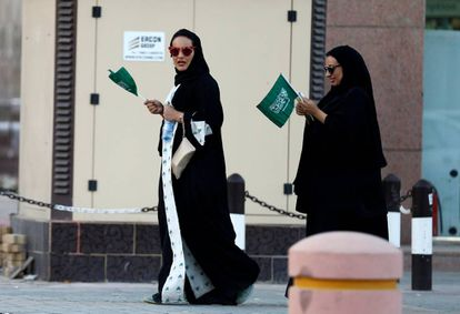 Mujeres saudíes durante el día nacional, el viernes