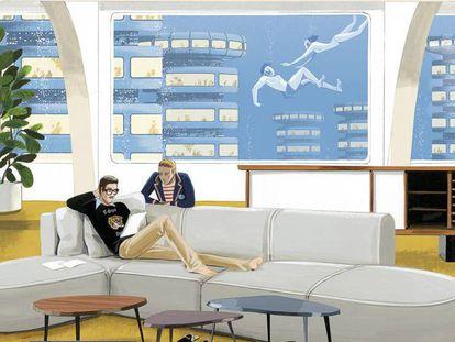 Varios de los muebles que ha presentado de Cassina en la última edición del Salone de Mobile de Milán ilustrados en exclusiva para ICON DESIGN por Jordi Labanda: aparador Riflesso, mesitas Mexique de Charlotte Perriand y Bowy Sofa de Patricia Urquiola.