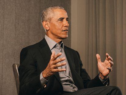 El expresidente Obama, el pasado domingo durante la entrevista.