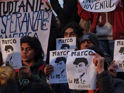 Protestas por la desaparición de Marco Antonio Sánchez.