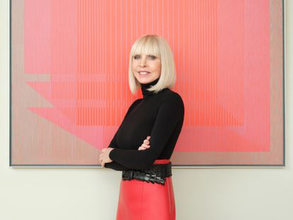 The businesswoman and philanthropist Grazyna Kulczyk in front of a piece from her collection