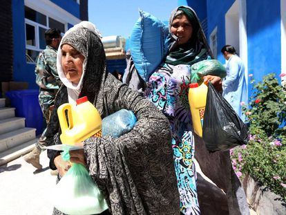 Mujeres afganas durante el primer día de ramadán.