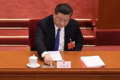 El presidente chino, Xi Jinping, en la votación sobre la ley de seguridad nacional para Hong Kong, este jueves, en Pekín.
