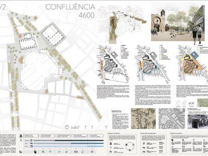 Un boceto del proyecto ganador con que urbanizar la explanada del Mercat Central de Valencia.