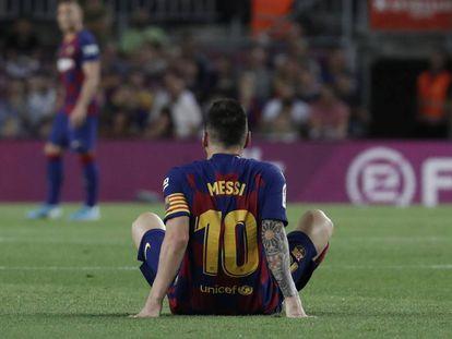 Messi, tras su lesión en el Barça-Villarreal.