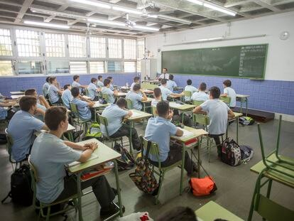 Un aula de un colegio concertado de Sevilla.