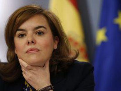 Sáenz de Santamaría, en rueda de prensa tras el Consejo de Ministros de este viernes.