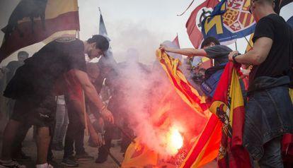 Manifestación de radicales de derechas en Montjuïc, en 2015.