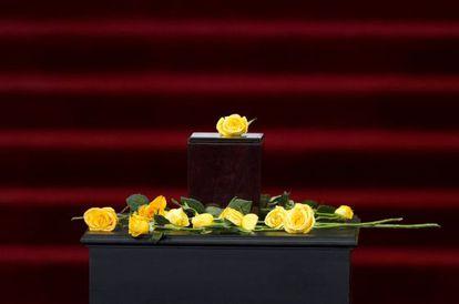 Caja con las cenizas de Gabriel García Márquez, el pasado 21 de abril en el Palacio de Bellas Artes de la Ciudad de México.