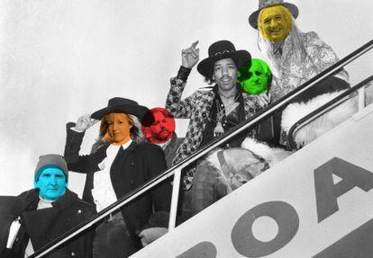 Jimi Hendrix acompañado, de forma virtual, de algunos de los músicos españoles que hablan sobre él para este reportaje.