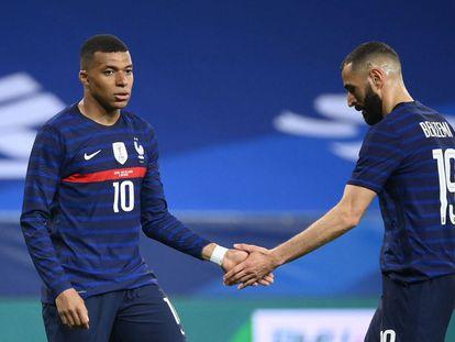 Mbappé y Benzema, en el último amistoso de la selección francesa