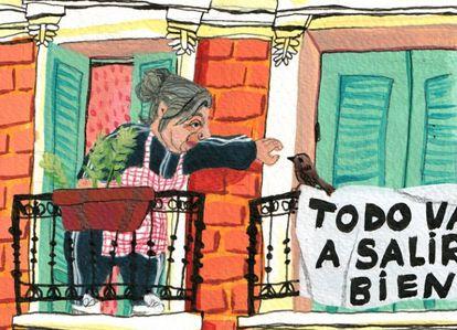Detalle de la ilustración que Ilu Ros ha creado para El País Madrid.