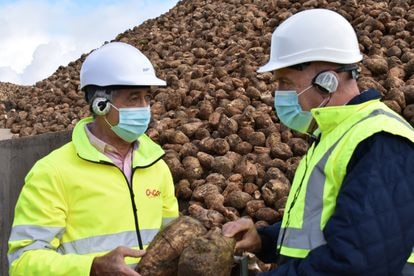 Jesús Julio Carnero (derecha), consejero de Agricultura de Castilla y León, y Justino Medrano, presidente de ACOR, en una de las instalaciones de la cooperativa en Valladolid, en una foto proporcionada por la Junta.