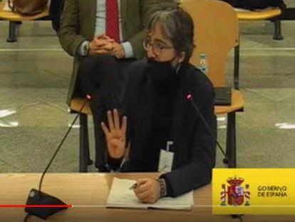 Declaración del arquitecto Gonzalo Urquijo en el juicio de la caja b del PP, en una captura de la señal de vídeo de la Audiencia Nacional.