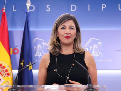 Yolanda Díaz, en el Congreso de los Diputados.