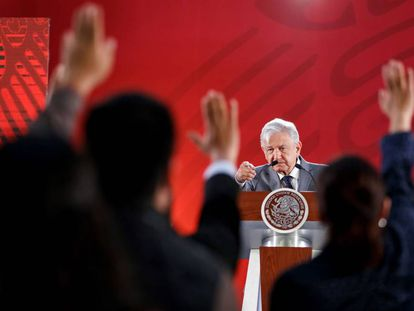 Andrés Manuel López ObradoR en una rueda de prensa.