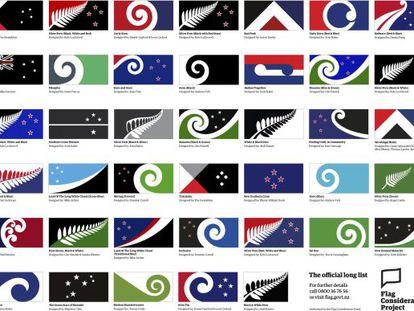 Foto de los 40 posibles diseños para la nueva bandera de Nueva Zelanda