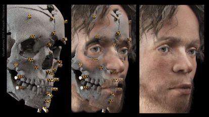 La imagen muestra la reconstrucción facial realizada de un cráneo con medios similares a los de la policía forense.