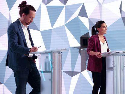 Pablo Iglesias y Rocío Monasterio, durante el debate de la campaña electoral madrileña.