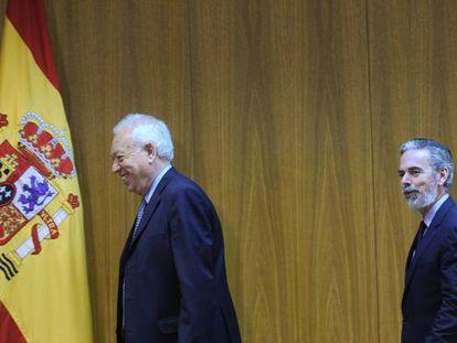 El ministro de Exteriores español, José Manuel García-Margallo, y el de Brasil, Antonio Patriota, el 16 de mayo en Brasilia.