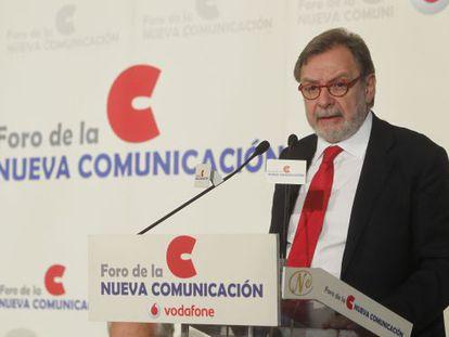 Juan Luis Cebrián, ayer, en el Foro Nueva Comunicación celebrado en Madrid.