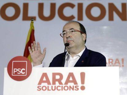 El primer secretario del PSC, Miquel Iceta, durante el debate de los socialistas.