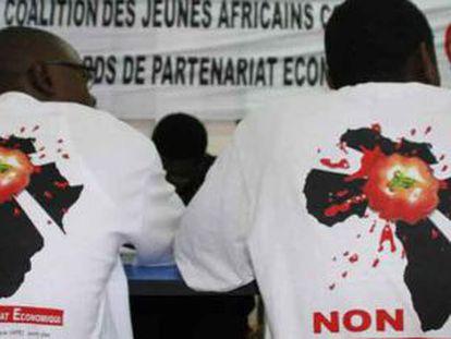 Rueda de prensa.jpg: Imagen de la rueda de prensa de la campaña celebrada el 24 de julio en Dakar.