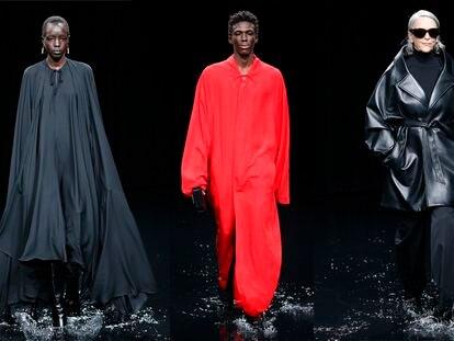 Tres modelos de Balenciaga durante el desfile en París. / ESTROP (GETTY)