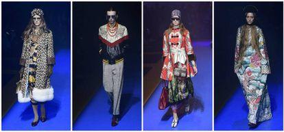 Cuatro de las propuestas de la colección primavera/verano 2018 presentadas ayer por Gucci en la Semana de la Moda de Milán.