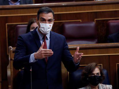 El presidente del Gobierno, Pedro Sánchez interviene durante la sesión de control al Ejecutivo este miércoles.