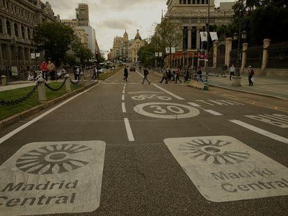 Madrid Central, desde la fuente de la Cibeles.