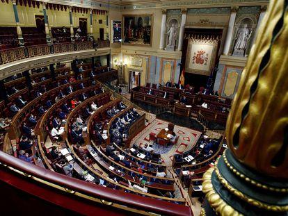 Vista del hemiciclo del Congreso de los Diputados, en Madrid.