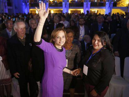 La senadora Carolina Goic tras ser elegida por DC.