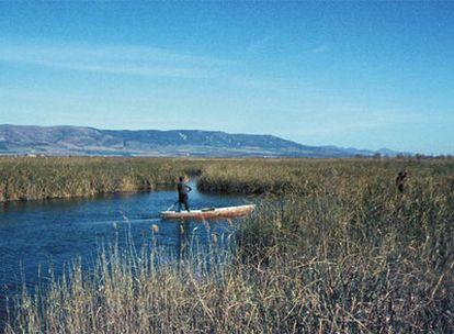Una barca de quilla plana en las Tablas de Daimiel cuando tenían agua.