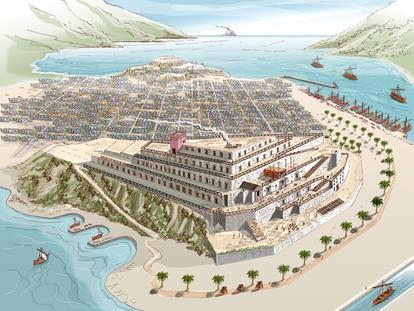 Reconstrucción idealizada del palacio de Asdrúbal en Cartagena que aparece en el libro de Iván Negueruela.