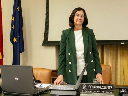 Cani Fernández, presidenta de la CNMC, en la Comisión de Asuntos Económicos del Congreso.