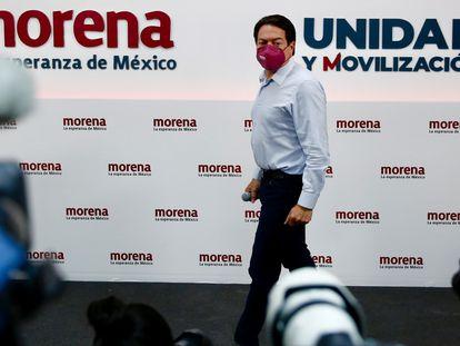 El presidente de Morena, Mario Delgado, en una conferencia de prensa la semana pasada.