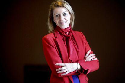 Dolores de Cospedal, el jueves, antes de la entrevista en la sede de las Cortes de Castilla-La Mancha.