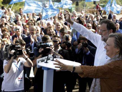 El presidente del Gobierno en funciones, Mariano Rajoy, en Zaragoza en la celebración del Día del Afiliado del PP en Aragón.