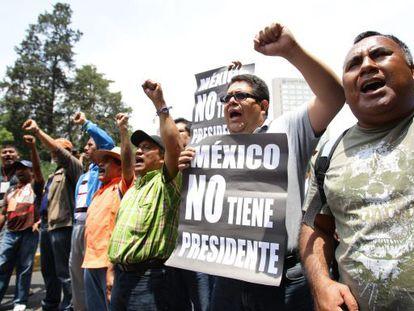 Una protesta de profesores en agosto, en el DF.