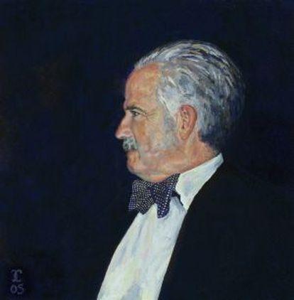 Retrato de Julio Caro Baroja de la exposición en la Biblioteca Nacional.