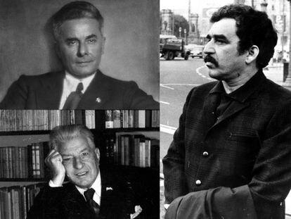 Los escritores Massimo Bontempelli (arriba), Ramon Vinyes (abajo) y Gabriel García Márquez.