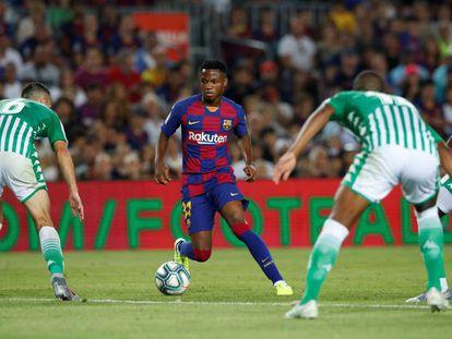 Ansu Fati, la noche de su primera actuación en el primer equipo del Barcelona ante el Betis.