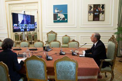 El presidente de Portugal, Marcelo Rebelo de Sousa, en la reunión virtual del Consejo de Estado, en la mañana del miércoles.