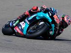 Petronas Yamaha SRT's French rider Fabio Quartararo rides during the during the fourth MotoGP free practice session of the Moto Grand Prix of Aragon at the Motorland circuit in Alcaniz on October 17, 2020. (Photo by JOSE JORDAN / AFP)